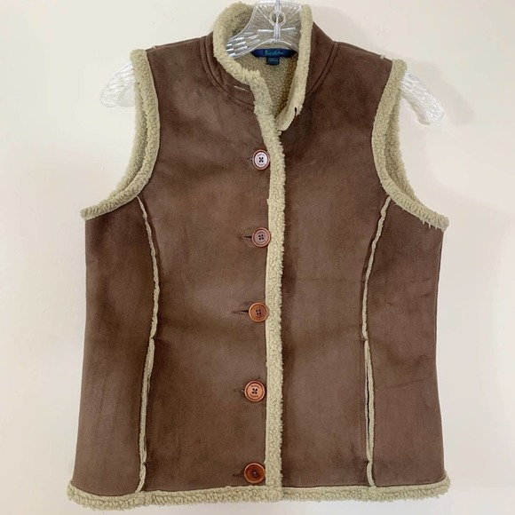 Boden Brown Faux Suede Sherpa Lined Vest